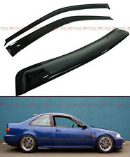 FOR 1992-95 HONDA CIVIC 2DR COUPE SMOKE REAR ROOF WINDOW + SIDE DOOR VISOR COMBO