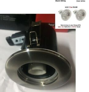 Fire Rated Downlights GU10 in Brushed Nickel -LED lamps cool/Warm White IP20 JCC