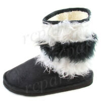 New girl's kids winter boots casual shoes pull up faux fur black white warm