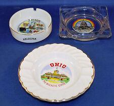 3 Vintage Ashtrays Location Themed Tucson Washington DC Ohio