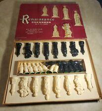 (CIB) Vintage 1959 E.S. Lowe No. 831 Renaissance Chessman Complete Chess Set
