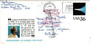 1987 UC60 Halley's Comet Aerogramme to Portugal - Return to Sender