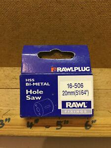 """Vintage RawlPlug 51/64""""-20mm HSS Bi Metal hole Saw Cutter 16-506"""