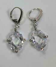 Nadri Silver Tone Clear Crystal Leverback Drop Earrings