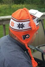 NHL Philadelphia Fliers Snow Ski Bonnet Peruvian knit Hat cap flaps braided NWT
