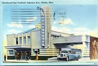 Toldedo Ohio Greyhound Bus Terminal Jefferson Avenue 1947 Postcard