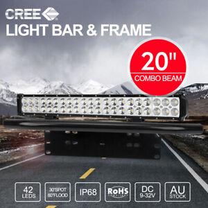 """20 inch CREE LED Light Bar SPOT & FLOOD / 23"""" Black Number Plate Frame"""