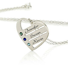 Love Pendant Heart Necklace with Birthstones - Custom made with any names