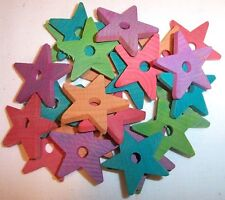 "25 Bird Toy Parts Colored Wood 1-1/2"" Stars Wooden Parrot Toy Craft Bead w/ Hole"