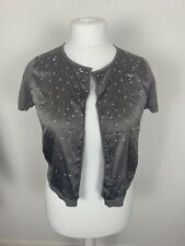 Vintage LUISA CERANO Fine Knit Cotton Silk Cardigan in Grey With Beads Size 14
