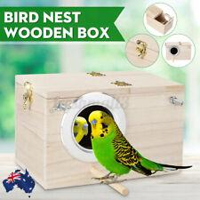 AU Budgie Nest Wooden Box Breeding Boxes Aviary Bird House Nesting Wood Stick