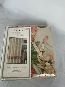 Waverly Shower Curtain W/Tie Tops NIP Paradise Island Floral Pink Orange 70 X 72