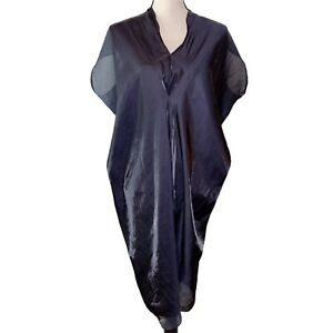 Zero Maria Cornejo Metallic V-Neck Dress Silver Black Sz 12