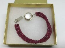 Modern Faceted Rub Bead Bracelet Sterling Silver Rock Crystal Clasp Mulit Strand