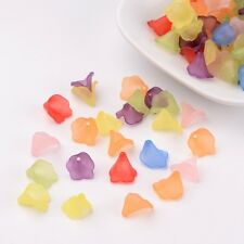 100PCS Transparent Frosted Acrylic Beads Dyed Flower Mixed Color Beading Crafts