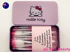 Women Hello Kitty Girl Pink Small Face Eye Lip Makeup Travel Brushes set tin box