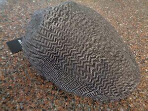Brixton Hooligan Snap Cap Hat Gray / Black Driving Newsboy Cap Medium 7 1/4 NWT