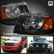 2003-2006 Ford Expedition Black Replacement Headlights Head Lamps Left+Right