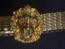 Vintage Gold Metal Lion Head Belt