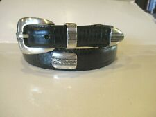 MARSHALL FIELDS  Black SILVER ACCENTS  Leather Belt Mens SZ 38 VERY NICE