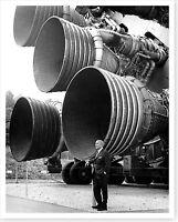 NASA Wernher von Braun Stands By The Five F-1 Rocket Engines Silver Halide Photo
