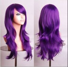 Purple 70cm Women Curly Wavy Hair Wig Fashion Costume Party Anime Cosplay