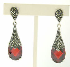 Marcasite .925 Sterling Silver Faceted Oval Garnet Solitaire Dangle Earrings
