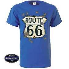 T Shirt royalblau Vintage HD Biker&OldSchoolmotiv M-XXL Modell Route 66. Bullet