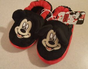 Mickey Mouse Unisex Toddler Slippers XL 11-12 Red Black Disney BOYS GIRLS #54818