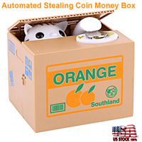 Cute Automated Cat Money Bank Stealing Coin Saving Money Piggy Bank Box Kid Gift