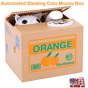 Cute Automated Cat Money Bank Stealing Coin Saving Money Piggy Bank Box Kid Gift