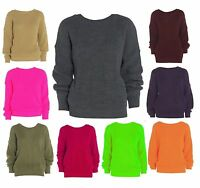 Women Ladies Plain Oversized Baggy Jumper Chunky Sweater Knitted Casual Top 8-18