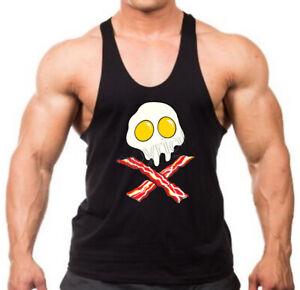 New Men's Eggs & Bacon Stringer Tank Top Jolly Roger Skull Keto Food Diet Funny