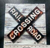 Railroad Crossbuck crossing sign rustic vintage weathered old antique looking