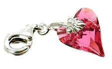 STERLING SILVER &  INDIAN PINK CRYSTAL WILD HEART CHARM TRIGGER CLASP