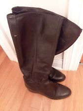 BATA LEATHER TALL FLAT BOOTS SIZE 9M 40EU BROWN SIDE ZIP