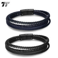 TT Black/Blue Leather 316L S.Steel Beaded Multi Stripe Bracelet (BR291) NEW