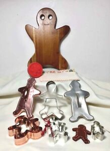 GINGERBREAD Cutting Board COOKIE CUTTERS Copper Metal 15 PIECES