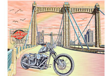 Harley Davidson Chopper Motorcycle Hennepin Minneapolis Grain Belt Biker Art
