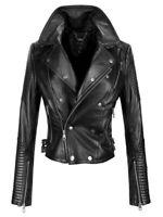 New Womens Genuine Lambskin Leather Jacket Motorcycle Biker Slim Fit Jacket