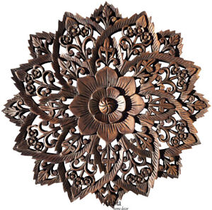 """Round Wood Carved Floral Wall Art Decor.Asian Home Decor Wood Wall Panels. 24"""""""
