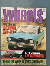 WHEELS MAGAZINE APRIL1974 FORD RS 1200 LH TORANA VW CHEVY VEGA