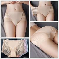 Women's Sexy Lace Briefs Lingerie Mid Waist Panties Stripe Mesh Underwear New