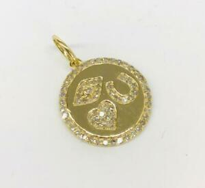 "0.45 TCW Round Diamonds ""I Love You"" Heart Charm / Pendant Solid 14k Yellow Gold"
