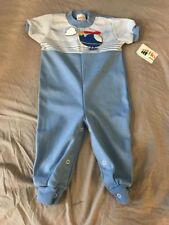 VINTAGE HEALTH-TEX BABY Blue One Piece Helecopter 18 month NWT Longall Outfit