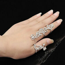 UK Donna più dita Argento PTD cristallo gioielli Fedi Nuziali Medio 3026
