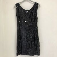 Vintage MATHILDE Womens Size 12 Sequinned Evening Cocktail Dress Fitted Black