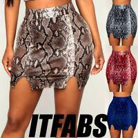 Womens Sexy Bandage Snake High Waist Pencil Bodycon Hip Short Mini Skirt Dress