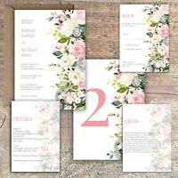 Personalised Luxury Rustic Wedding Invitations IVORY & PINK/GREY ROSE PK 10