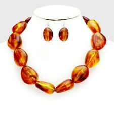 Brown Amber Uneven shape Lucite Bead Necklace earring Set
